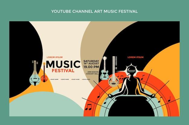 Art De La Chaîne Youtube Du Festival De Musique Coloré Dessiné à La Main Vecteur gratuit