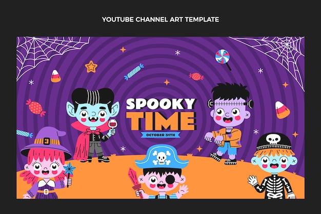 Art de la chaîne youtube halloween design plat dessiné à la main