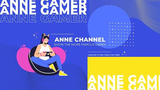 Art de la chaîne youtube de jeu moderne et créatif
