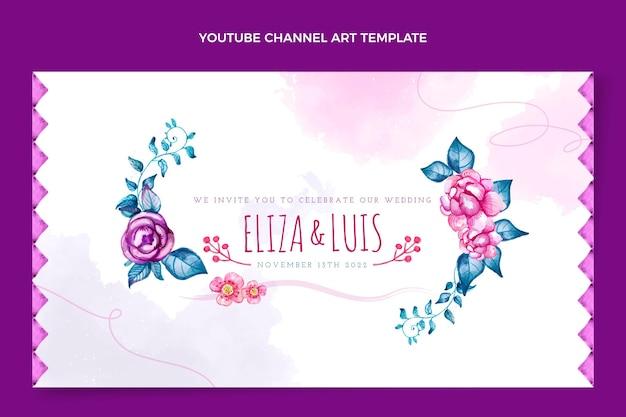 Art de la chaîne youtube de mariage boho aquarelle