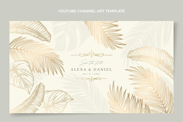 Art de chaîne youtube de mariage d'or de luxe réaliste