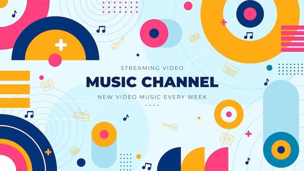 Art De La Chaîne Youtube De Musique Plate Vecteur gratuit