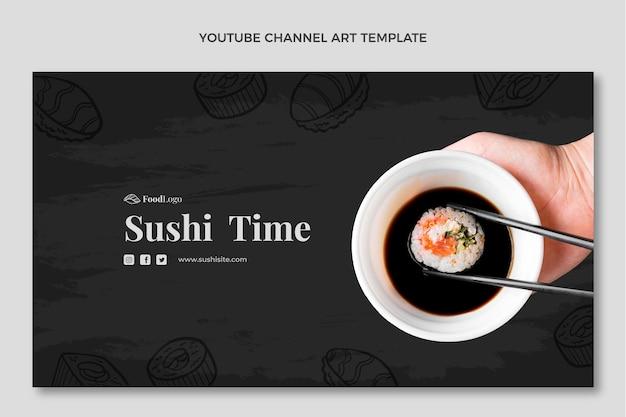 Art de la chaîne youtube de nourriture dessinée à la main