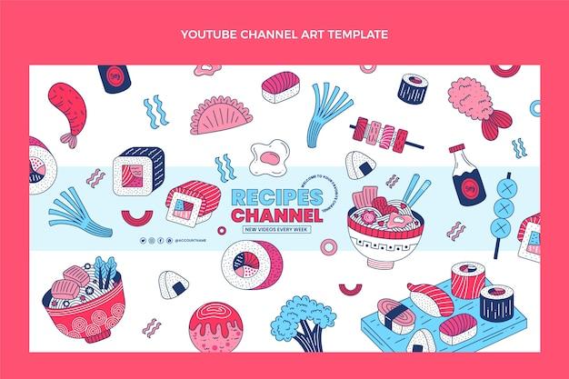 Art de la chaîne youtube de la nourriture plate