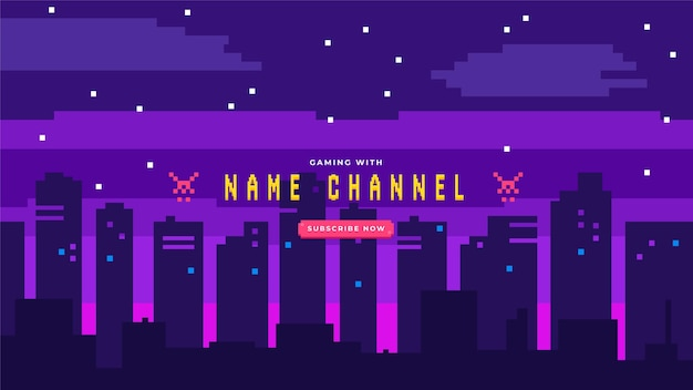Art De La Chaîne Youtube Pixel Gaming Vecteur Premium
