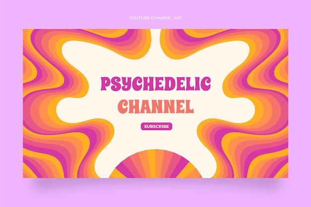 Art de la chaîne youtube psychédélique groovy plat dessiné à la main