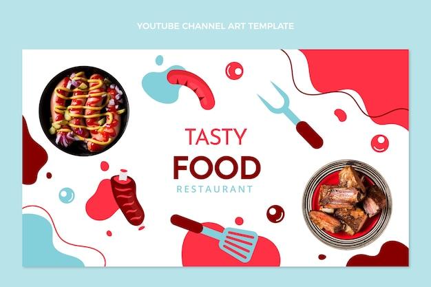 Art de la chaîne youtube de saucisses savoureuses au design plat