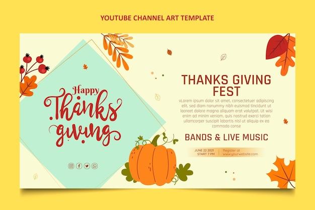 Art de la chaîne youtube thanksgiving design plat dessiné à la main