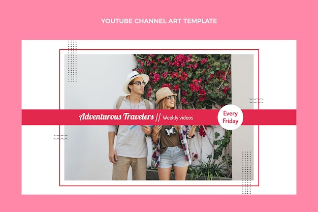 Art de la chaîne youtube de voyage plat