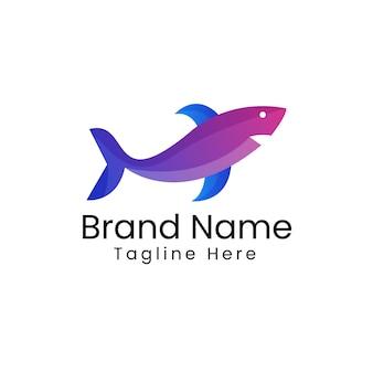 Art de conception de logo de requin de couleur dégradé