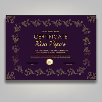 Art contemporain du milieu du siècle certificat de fleur dorée luxe