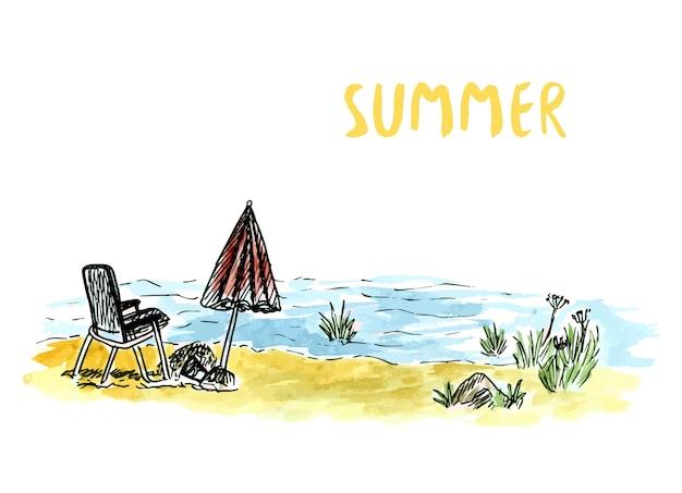 Art de croquis de vecteur avec fauteuil de plage et parasol. vacances fluviales ou maritimes. illustration aquarelle dessinée à la main.