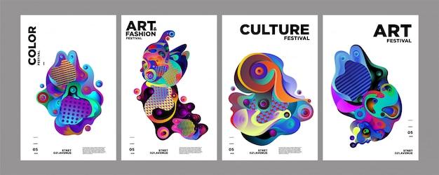 Art, culture et mode modèle de couverture ou poster coloré