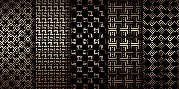 Art déco motifs géométriques sans soudure dorés, ornements de luxe