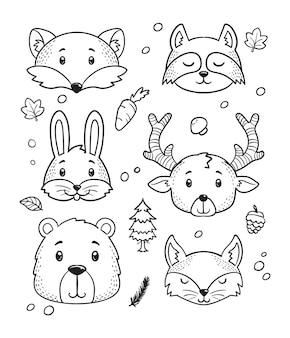 Art de doodle tête animaux mignons