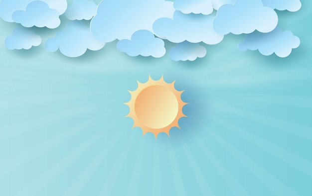 Art du papier et de l'artisanat de la lumière du soleil sur le ciel bleu.
