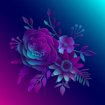 Art du papier, fleurs 3d vectorielles réalistes sur une lumière néon bleu et rose avec des feuilles coupées en papier. illustration d'images d'archives