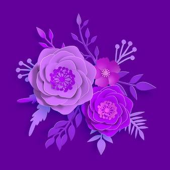 Art du papier vectoriel, fleurs d'été sur fond violet proton avec des feuilles coupées de papier. illustration d'images d'archives