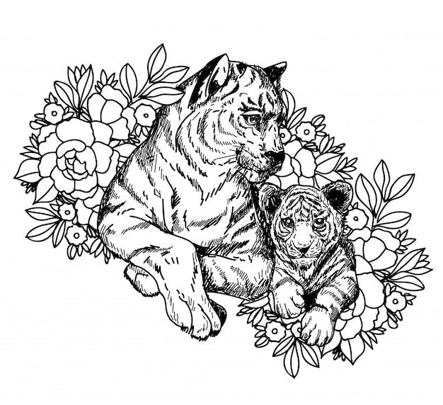 Art du tatouage esquisse tigre noir et blanc avec dessin au trait