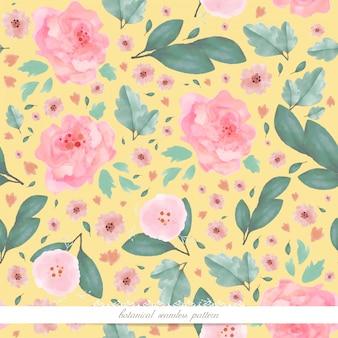 Art de la fleur dans l'image de papier peint de style aquarelle dans un modèle sans couture botanique