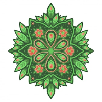 Art avec des fleurs roses sur le motif vert