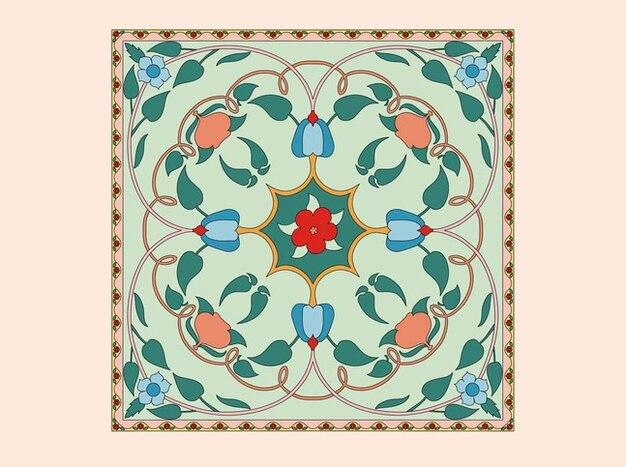 Art floral conception de vecteur de tuile
