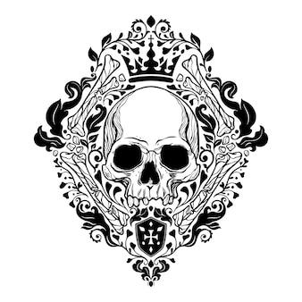 Art floral de damassé de crâne royal. illustration vectorielle