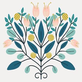Art folklorique rétro fleurs design symétrique scandinave