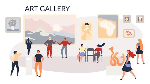 Art gallery exhibition peintures et sculptures