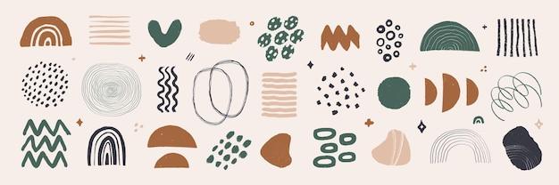 L'art graphique abstrait définit des formes et des éléments organiques modernes dans un style vintage avec une texture grunge