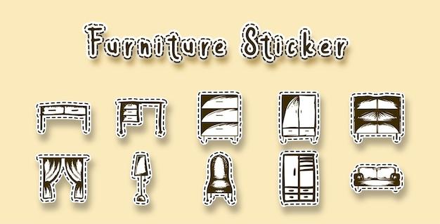 Art de griffonnage de ligne de meubles