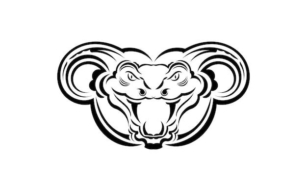 Art d'illustration vectorielle de serpent anaconda pour tatouage, logo, étiquette, signe, affiche, t-shirt. isolé, illustration vectorielle.