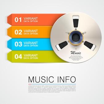 Art d'information de bobine de musique en métal illustration vectorielle
