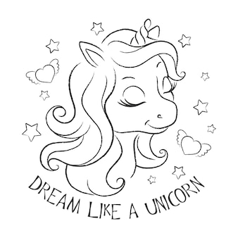 Art. licorne mignonne. pages de coloriages. illustration de mode imprimée dans un style moderne pour des vêtements ou des tissus et des livres. rêvez comme une licorne.