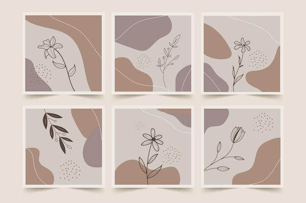 Art de la ligne abstraite fleurs d'art en ligne et ensemble d'affiches de fond abstrait
