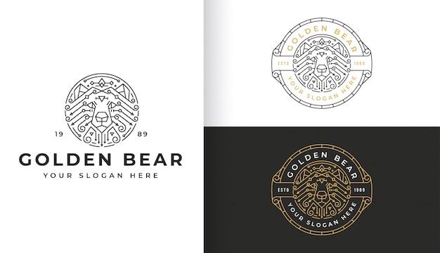 Art de la ligne abstraite logo ours doré avec modèle de badge cercle