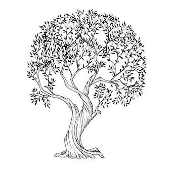 Art de la ligne d'arbre peint à la main avec de l'encre et un stylo