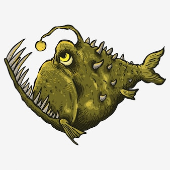 Art de la ligne drwaing main de poisson effrayant vert grande bouche