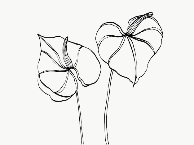 Art de la ligne de fleurs abstrait moderne ou minimal parfait pour la décoration intérieure comme le vecteur d'affiches