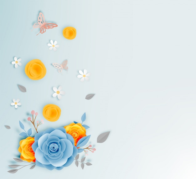 Art magnifique papier floral avec illustation de vecteur papillon