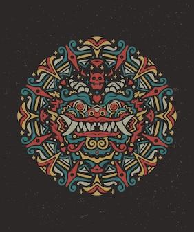 Art de mandala coloré lion gardien chinois