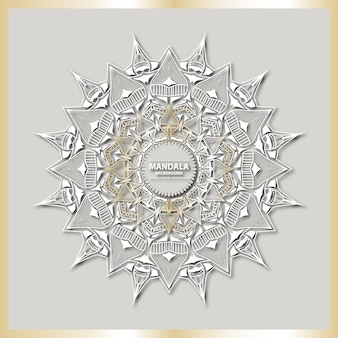 Art de mandala de luxe avec fond arabesque doré