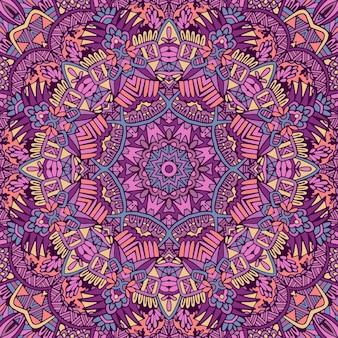 Art de mandala de modèle sans couture de mandala. imprimé médaillon de fleurs.
