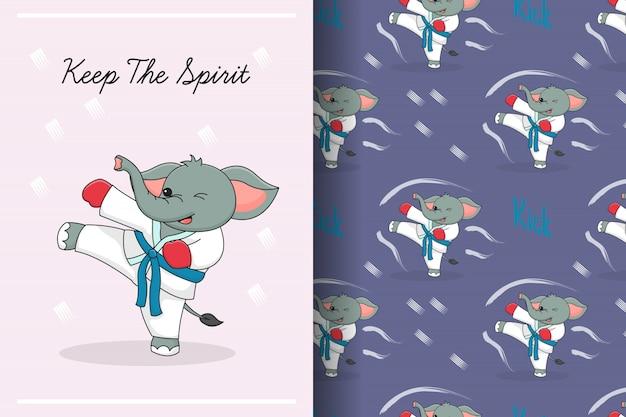 Art martial éléphant mignon coup de pied modèle sans couture et carte