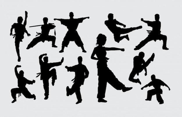 Art martial pose silhouette masculine et féminine