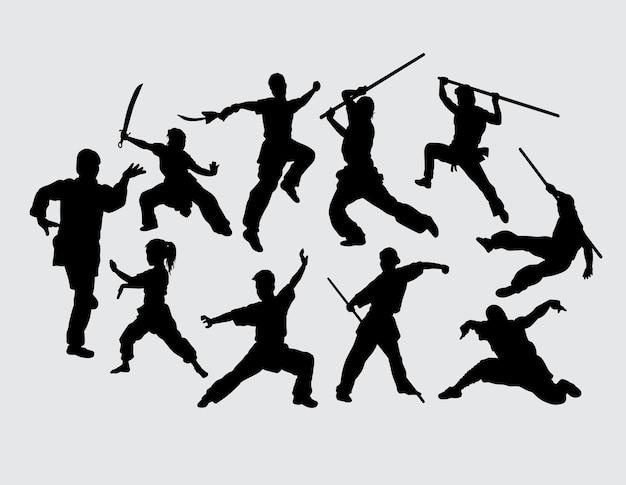 Art martial, utilisation, silhouette, sport, entraînement, arme