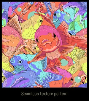 Art de modèles sans couture de poissons dorés colorés dessinés nageant.