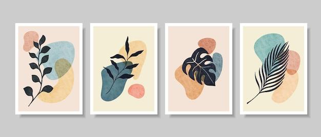 Art mural botanique abstrait, feuilles, branche de boho botanique
