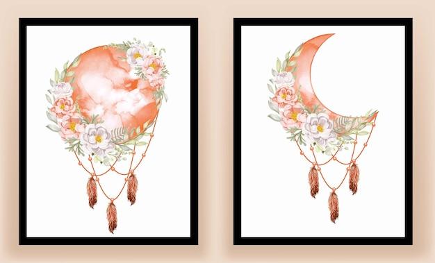 Art mural imprimable. élégante fleur de magnolia blanc aquarelle pleine lune