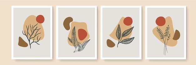 Art mural minimaliste. paysages abstraits pour un intérieur bohème esthétique. impressions murales de décoration d'intérieur